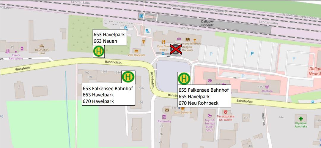 Lageplan Ersatzhaltestellen Bahnhof Dallgow-Döberitz